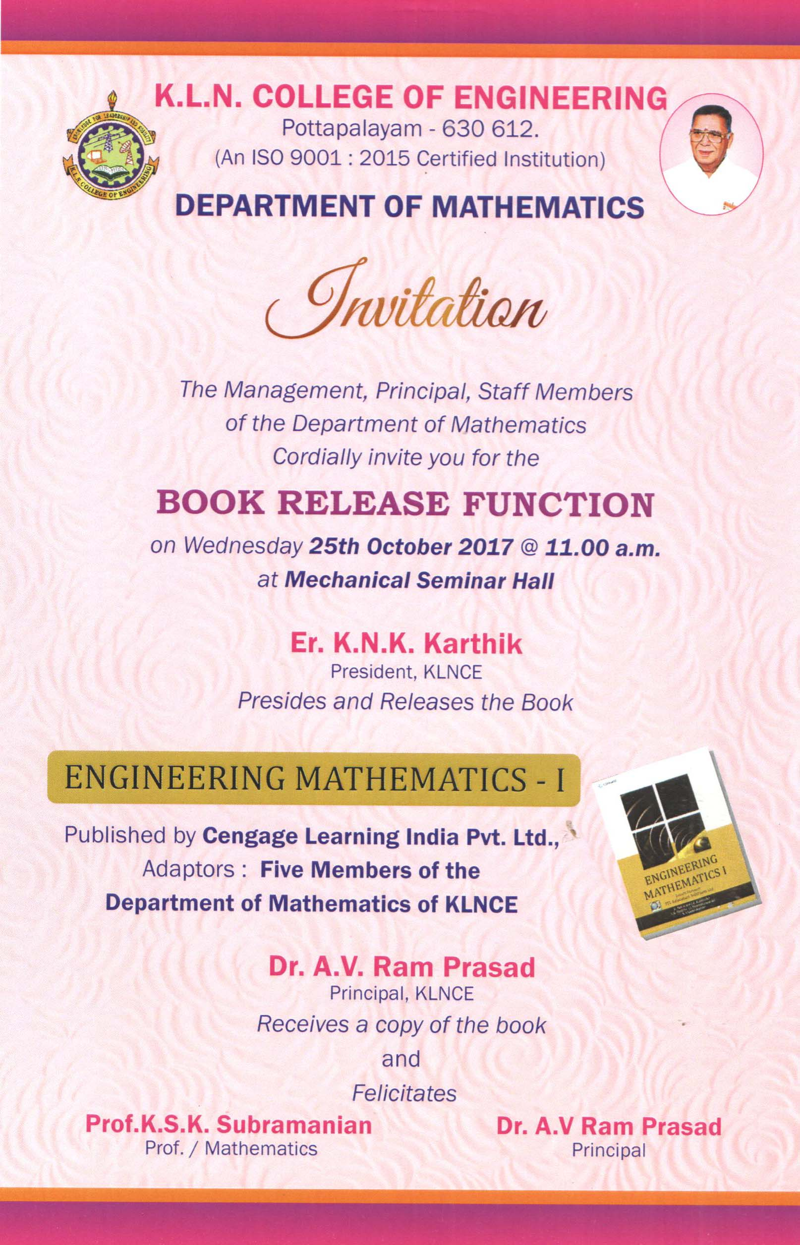 Kln College Of Engineering Klnce Electronics Mini Projects Free Seminar Topics 2016 67 Book Release Function
