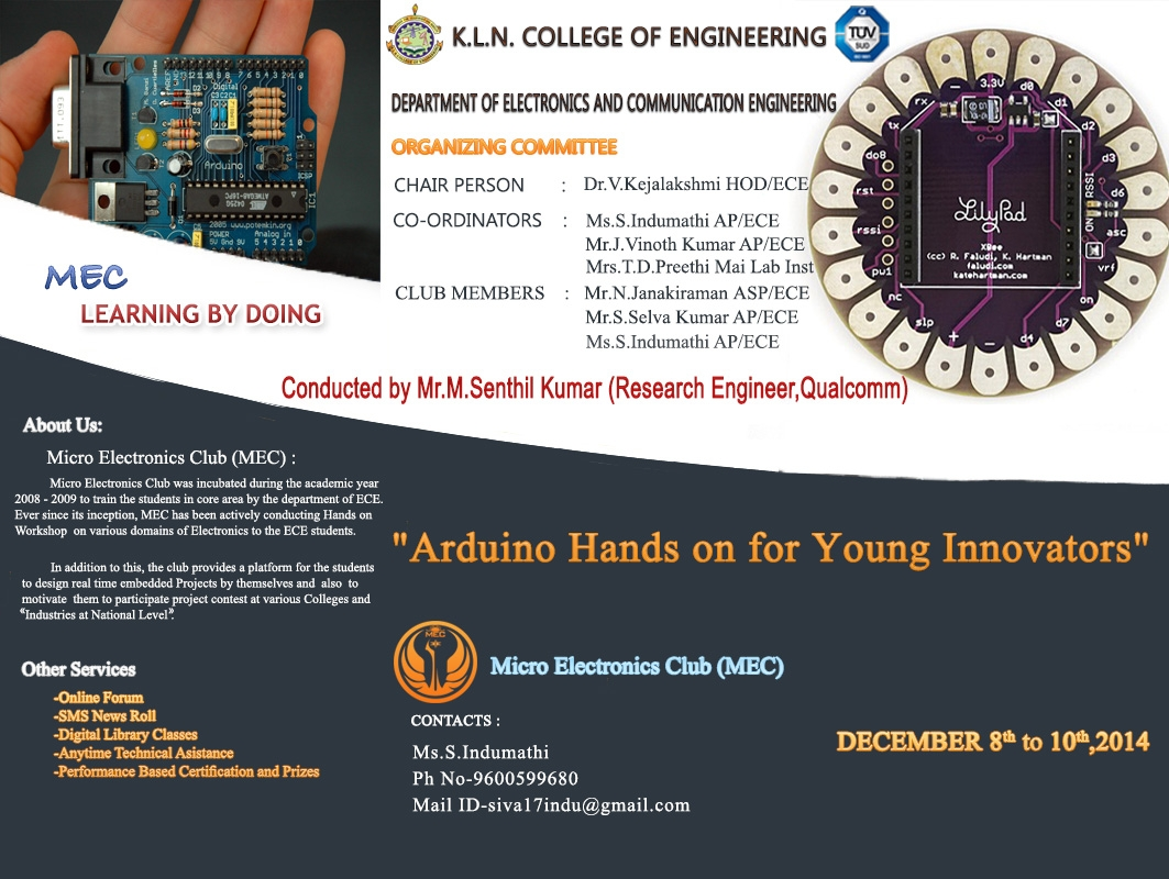 Kln College Of Engineering Klnce Electronics Mini Projects Free Seminar Topics 2016 212 Workshop Three Day On Arduino Hands For Young Innovators Organized By Ece Dept